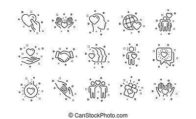 ベクトル, business., set., 愛, 理解, 線である, icons., 友情, 相互作用, 相互, 線, 援助