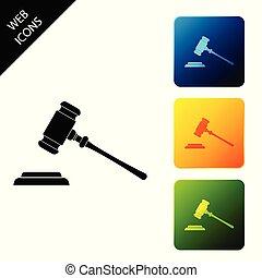 ベクトル, buttons., セット, カラフルである, アイコン, isolated., 法廷, stand., シンボル。, イラスト, 判決, ビルズ, 裁判官, 広場, 正義, 文, 小槌, ハンマー, オークション, アイコン