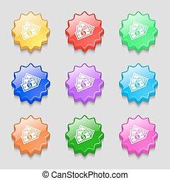 ベクトル, buttons., 印。, ドルシンボル, 波状, 9, カラフルである, u.s, アイコン