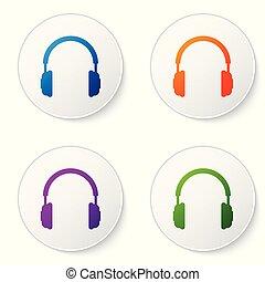 ベクトル, buttons., 概念, サービス, 色, コミュニケーション, 印。, オブジェクト, 隔離された, イラスト, ヘッドホン, バックグラウンド。, セット, 聞くこと, operator., 音楽, 白い円, イヤホーン, アイコン