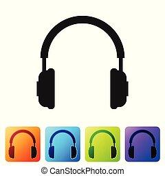ベクトル, buttons., 概念, サービス, 色, コミュニケーション, 広場, オブジェクト, 隔離された, イラスト, ヘッドホン, バックグラウンド。, セット, 黒, 聞くこと, operator., 音楽, 白, 印。, イヤホーン, アイコン