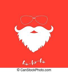 ベクトル, card., 挨拶, sunglasses., santa, バックグラウンド。, claus's, テンプレート, 白, ひげ, クリスマス, luxuriant