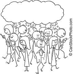 ベクトル, cellphones, 歩くこと, セット, 群集, 人々, 移動式 電話, 漫画, 考え, 通り, 何か, 使うこと, ∥あるいは∥