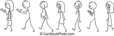 ベクトル, cellphones, 歩くこと, セット, 群集, 人々, 移動式 電話, 漫画, 通り, 使うこと, ∥あるいは∥