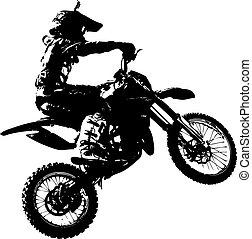 ベクトル, championship., motocross, participates, ライダー, illustration.