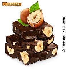 ベクトル, chocolate., 3d, 現実的, ヘイゼルナッツ, アイコン
