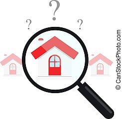 ベクトル, clipart, 財産, 評価, 価格, 家, 実質