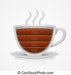 ベクトル, coffee., カップ