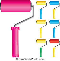 ベクトル, colors:, セット, ピンク, ブラシ, 変化, 黄色のペイント, 青, 部分, イラスト, 1, ローラー, 赤