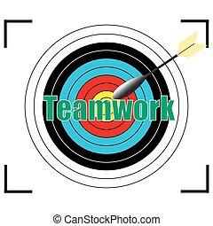 ベクトル, concept., 単語, ビジネス, チームワーク