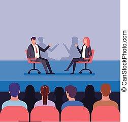 ベクトル, conferees, 訓練, trending, discussion., ビジネス 人々, 成功した, concept., 特徴, 2, 平ら, クラス, 写実的な 設計, イラスト, 出版物, ホール