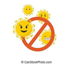 ベクトル, coronavirus, イラスト, アイコン, emoji, 概念, set., 旗, 止まれ, 背景