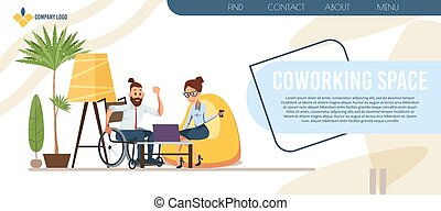 ベクトル, coworking, 中心, ページ, 着陸, 平ら, オフィス