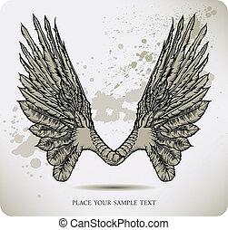 ベクトル, crow., 翼, illustratio
