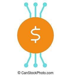 ベクトル, cryptocurrency, icon., 96x96, pictogram, 単純である, 最小である