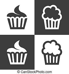 ベクトル, cupcake, セット, 黒, アイコン