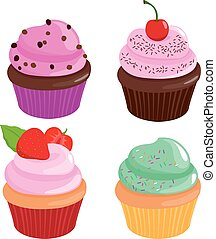 ベクトル, cupcakes, コレクション