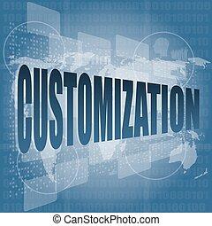 ベクトル, customization, デジタル, 感触, 単語, イラスト, スクリーン, 2進