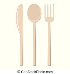 ベクトル, cutlery, イラスト, 隔離された