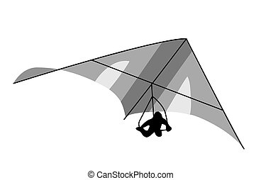 ベクトル, deltaplane, 背景, 白, イラスト