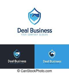 ベクトル, design., handshake., ロゴ, ビジネス, テンプレート