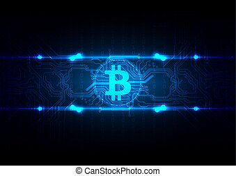 ベクトル, desing, bitcoin, 背景, 抽象的, 回路, 技術の 実例