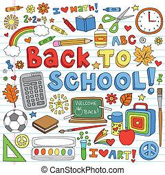 ベクトル, doodles, 学校, セット, 背中