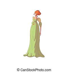 ベクトル, dress., red-haired, 旧式, 長い間, バックグラウンド。, 女, 緑, イラスト, 白