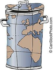 ベクトル, dumpster, 屑, map., 世界, イラスト