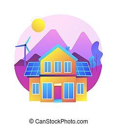 ベクトル, eco, 家, illustration., 概念, 抽象的