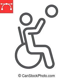 ベクトル, editable, 車椅子, ストローク, スポーツ, 10., バスケットボール, アイコン, 不具, 線である, 不能, グラフィックス, eps, 線, 人, 印