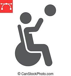 ベクトル, editable, 車椅子, ストローク, スポーツ, 10., バスケットボール, glyph, アイコン, 不具, 固体, 不能, グラフィックス, eps, 人, 印