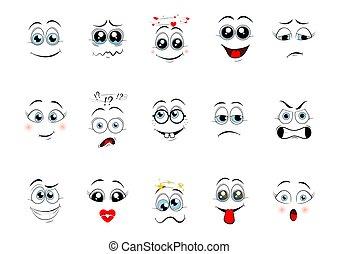 ベクトル, expressions., イラスト, 漫画