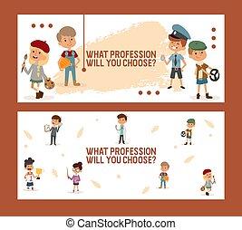ベクトル, fair., 子供, 旗, 仕事, illustration., 意志, 選びなさい, あなた, 学校, 仕事, 幼稚園, 専門職, 何か