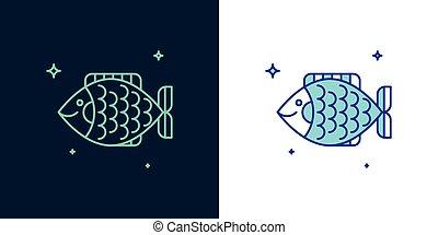 ベクトル, fish, 線である, アイコン, style.