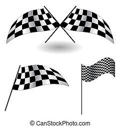ベクトル, flags., セット, illustration., checkered