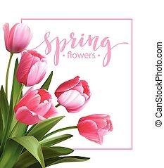 ベクトル, flower., 春, チューリップ, テキスト, イラスト