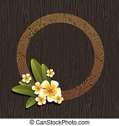 ベクトル, &, frangipani, 抽象的, -, イラスト, ラウンド, トロピカル, 木, 黒い背景, 花, フレーム