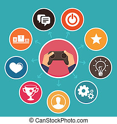 ベクトル, gamification, 概念, 中に, 平ら, スタイル
