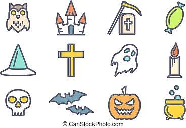 ベクトル, halloween., セット, アウトライン, アイコン
