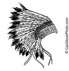 ベクトル, headdress., b, アメリカ人, イラスト, 責任者, indian, ネイティブ