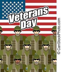 ベクトル, holiday., 国民, 州, countrys, ギヤ, 合併した, アメリカ人, day., 愛国心が強い, ベテラン, flag., に対して, 背景, 兵士, 軍, 英雄, イラスト
