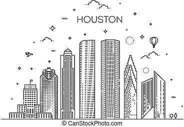 ベクトル, houston, イラスト, テキサス, style., 合併した, 都市, 州, 線である, スカイライン