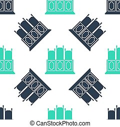 ベクトル, icon., テーブル, 白, 隔離された, バックグラウンド。, 緑, seamless, パターン, 椅子, 部屋, court's, アイコン