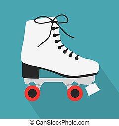ベクトル, icon-, 白, イラスト, スケート, ローラー