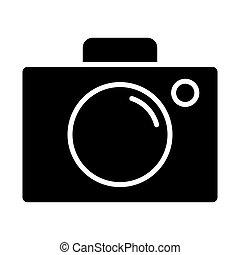 ベクトル, icon., 96x96, カメラ, pictogram, 単純である, 最小である
