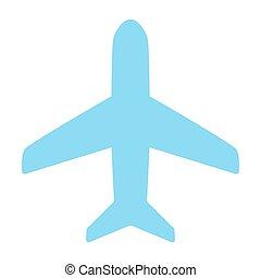 ベクトル, icon., 96x96, pictogram, 単純である, 飛行機, 最小である