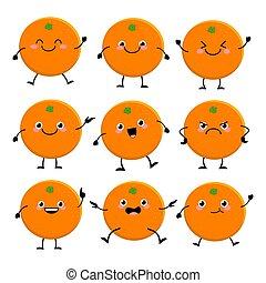 ベクトル, illus, かわいい, セット, 特徴, 別, emitions, オレンジ