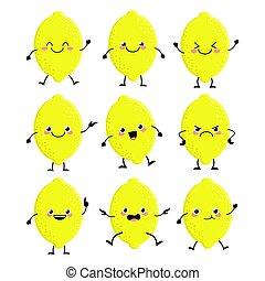 ベクトル, illust, レモン, セット, 特徴, 別, emitions, かわいい