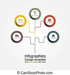 ベクトル, illustration., あなたの, infographic, デザイン, テンプレート, 場所, data.